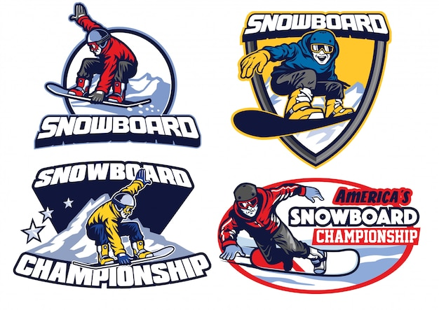 Set of snowboard badge design