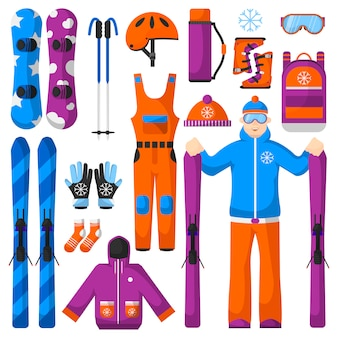 Set of snowboarding equipment icons