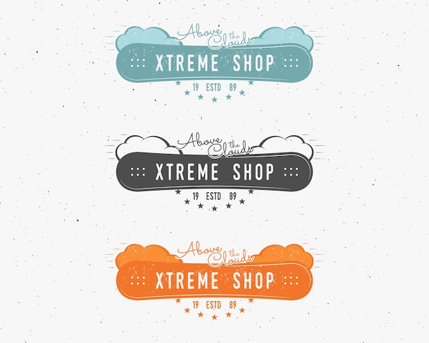 Set of snowboarding extreme shop logo, label templates winter snowboard sport store badge.