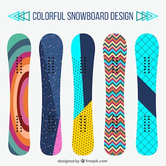 Set of snowboards in modern design