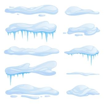 雪の吹きだまりをさまざまな形やサイズに設定します。つららで漂う。