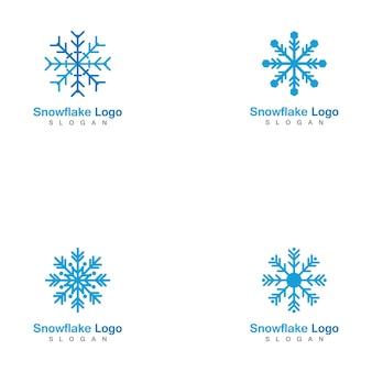 Set of snowflake logo template