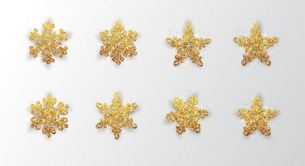 Set snowflakes. metallic  christmas snowflake, decoration, shimmering, shiny confetti.