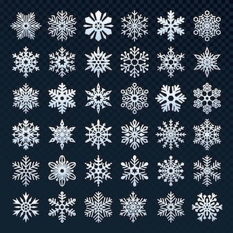 Set of snowflakes silhouette collection