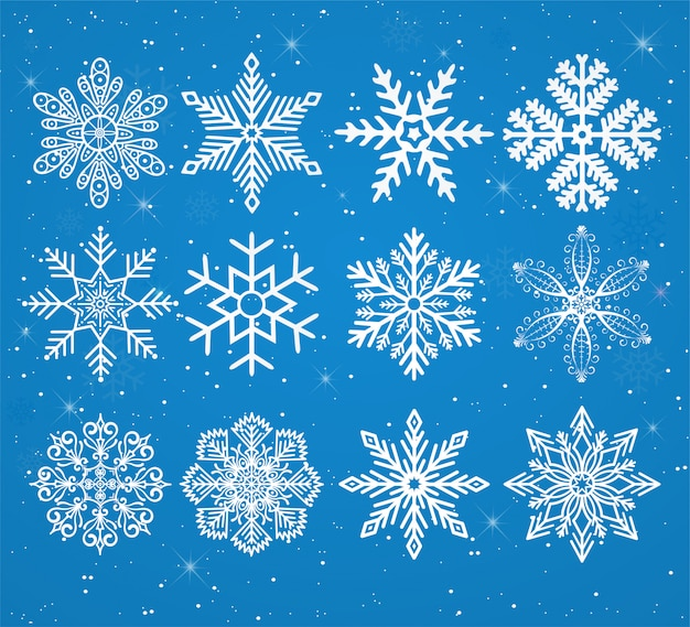 Set of snowflakes on a snowy background with stars