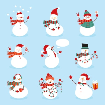 Set of snowman character illustration with simple style.