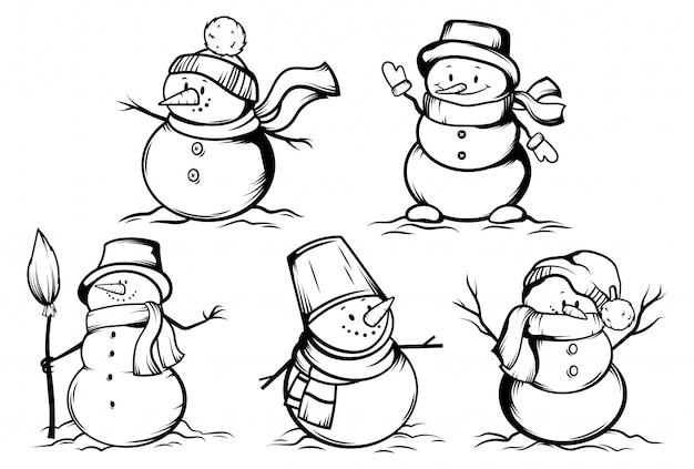 Set of snowmen.collection of funny snowmen in hats wrapped in scarves.