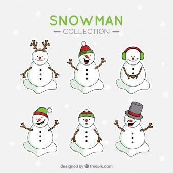 Set of snowmen lovely hand drawn with accessories
