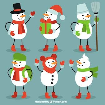 Set of snowmen winter elements