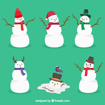 Set of snowmen with scarves