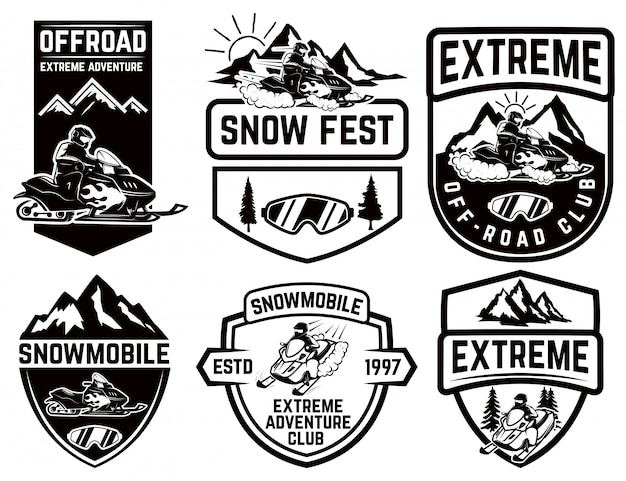Set of snowmobile emblems  on white background.  element for label, brand mark, sign, poster.  illustration