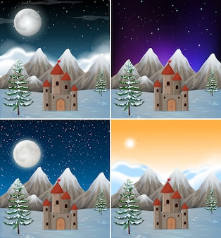 Set of snowy castle scenes