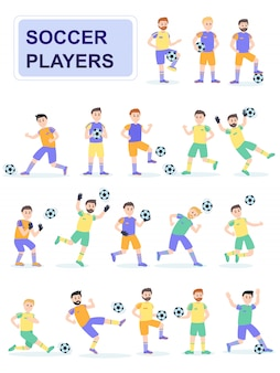 Set of soccer ball player with different pose.
