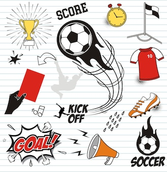 Set soccer doodles on paper background