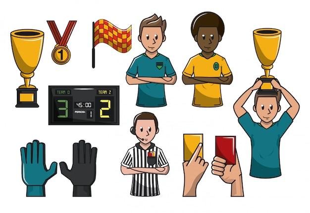 Set of soccer elements catoons concept v