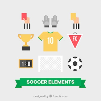 Set of soccer equipment in flat style