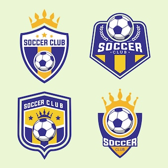 Set of soccer football team badge logo design templates