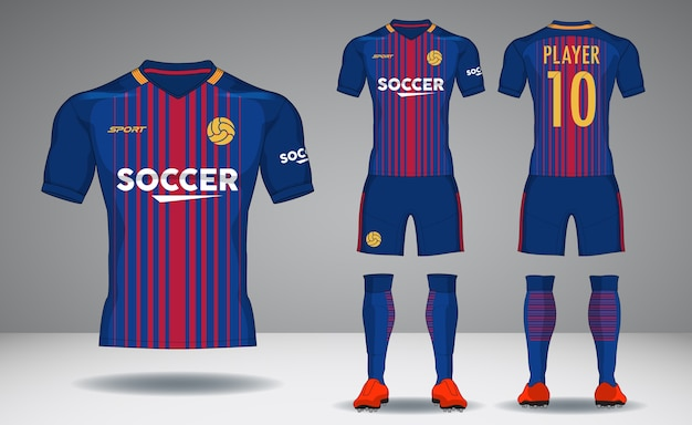 Set of soccer kit, sport t-shirt design.
