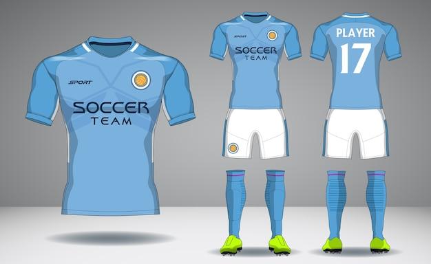 Set of soccer kit, sport t-shirt design.
