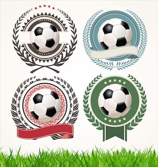 Set of soccer labels with laurel wreaths