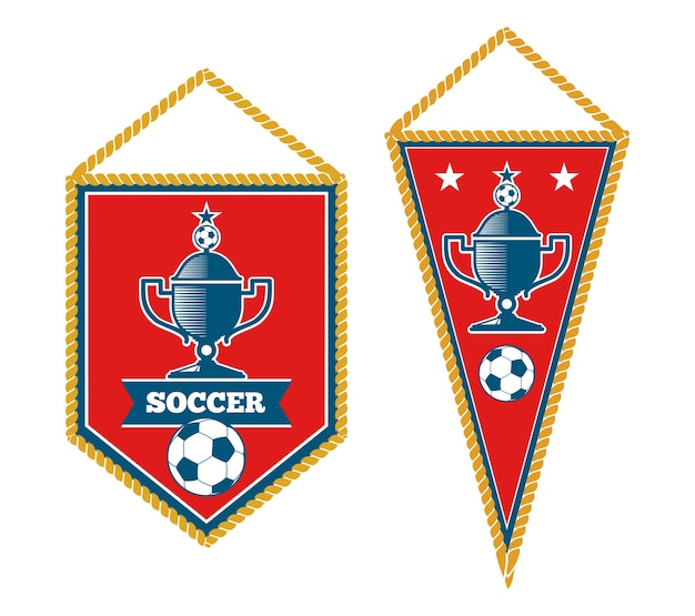Set of soccer pennants isolated