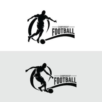 Set of soccer player logo design templates
