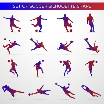 Set of soccer silhouette shape