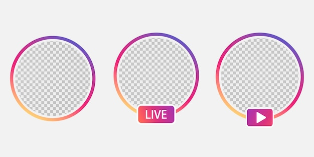 Set social media avatar user icon avatar stories user live video treaming. colorful gradient. round frame for avatar mobile app.