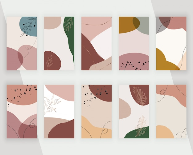 Установите фоны социальных медиа с художественной руки абстрактной ручной росписью форм, линий и листьев. современный нейтральный дизайн