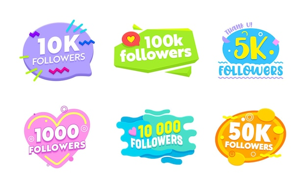 Set of social media banners with followers