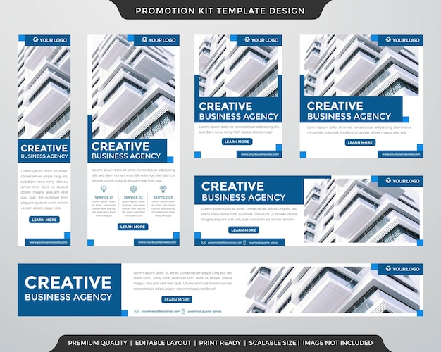 Set of social media content and promotion kit template use for website ads banner