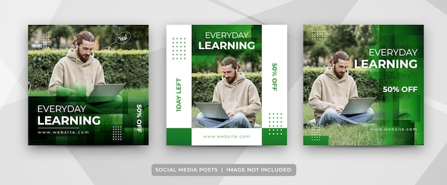 Set of social media e-learning post