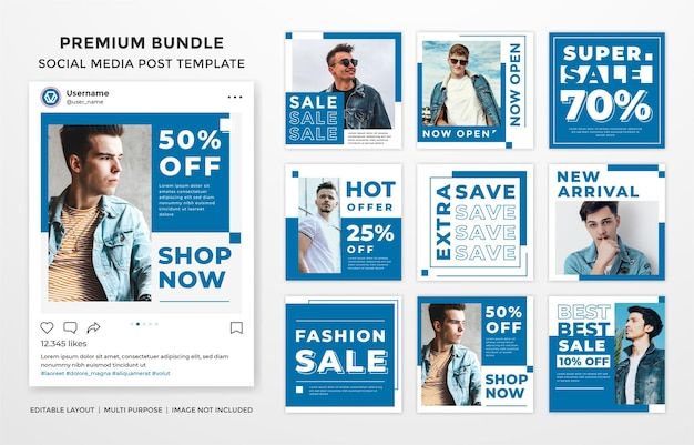 Set of social media feed template design with modern and trendy style