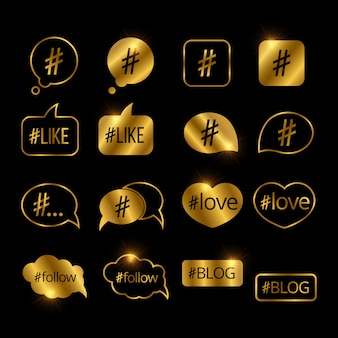 Set of social media golden hashtag