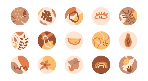 Set of social media highlights cover. abstract shapes, flowers, plants in round icons, pastel colors. collection in flat doodle style, for stories.