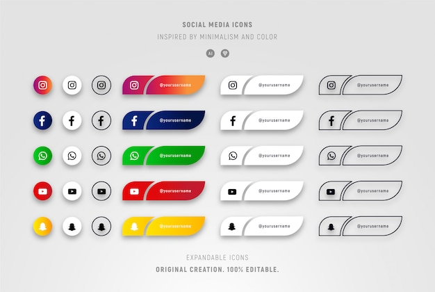 Set of social media icons with gradients and minimalists.