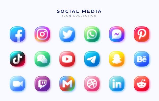 Set of social media icons