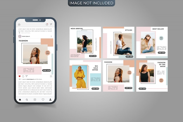 Set of social media  instagram post square banner template
