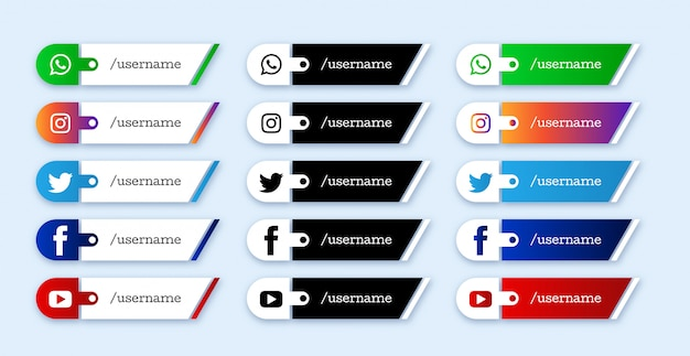 Set of social media lower third icons