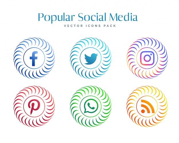 Set di icone di rete di social media