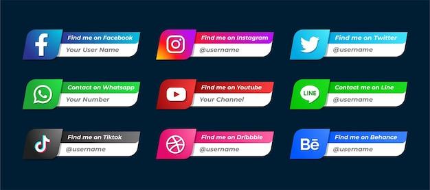 Set of social media network username logo icon template