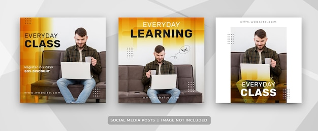 Set of social media post for e-learning