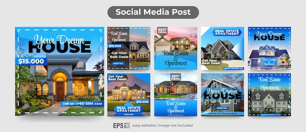 Set di modelli di post sui social media per la promozione di immobili e appartamenti