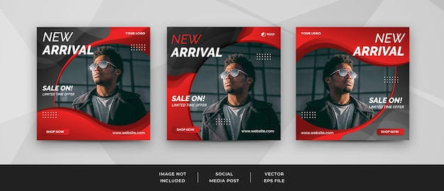 Set of social media post template and square banner design for fashion sale