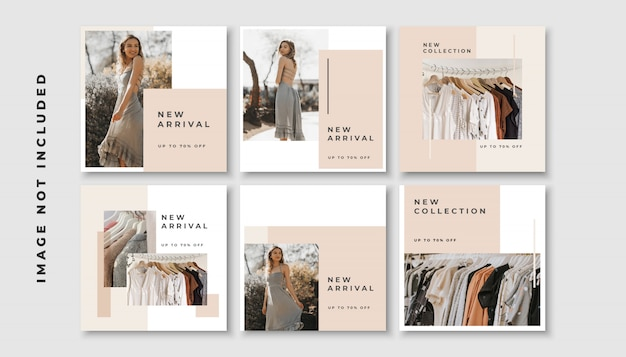 Set of social media post template with peach color