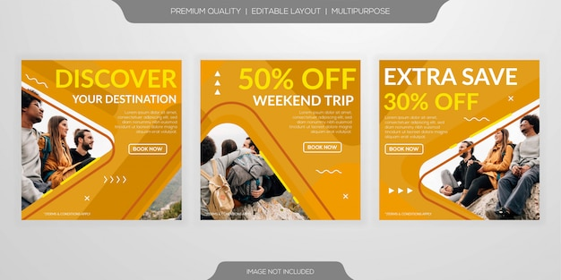 Set of social media post template
