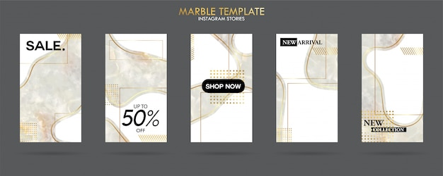Set of social media stories template pack with luxury trendy marble texture