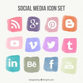 Set of social media watercolor icons