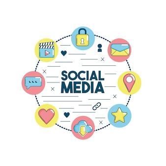 Set social medio technology connection