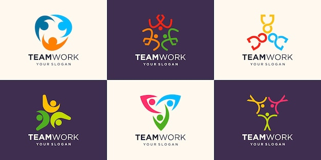 Set of social people unity together teamwork logo icon vector